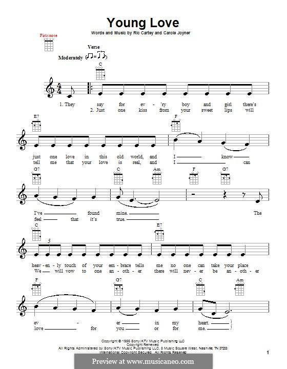 Young Love (Sonny James): Для укулеле by Carole Joyner, Ric Cartey