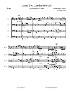 Danny Boy (Londonderry Air): For intermediate/advanced cello quartet (four cellos) by folklore