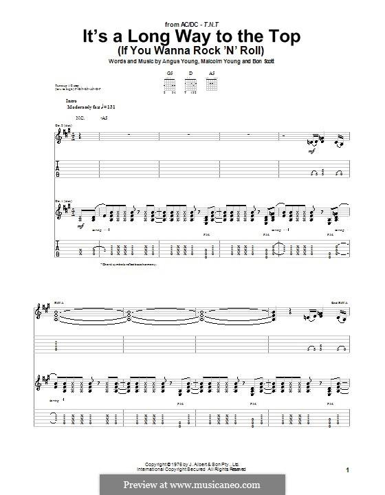 It's a Long Way to the Top (If You Wanna Rock 'n' Roll): Для гитары с табулатурой by Angus Young, Bon Scott, Malcolm Young