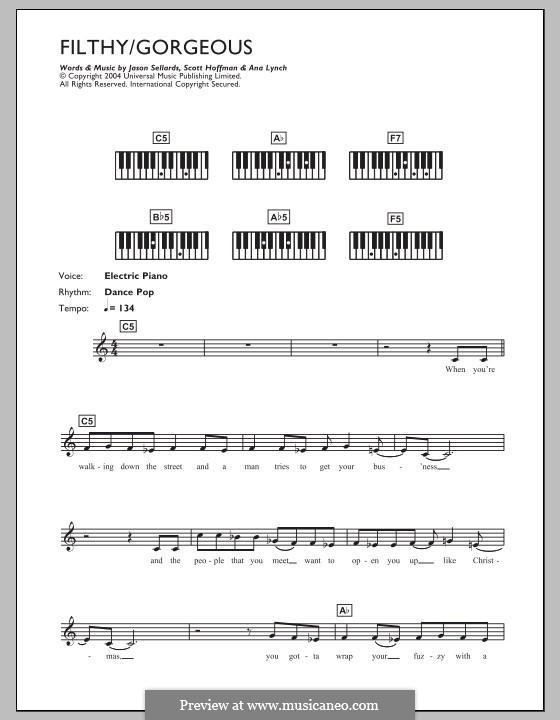Filthy/Gorgeous (Scissor Sisters): Для клавишного инструмента by Ana Lynch, Jason Sellards, Scott Hoffman