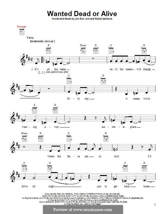 Wanted Dead or Alive (Bon Jovi): Для укулеле by Jon Bon Jovi, Richie Sambora