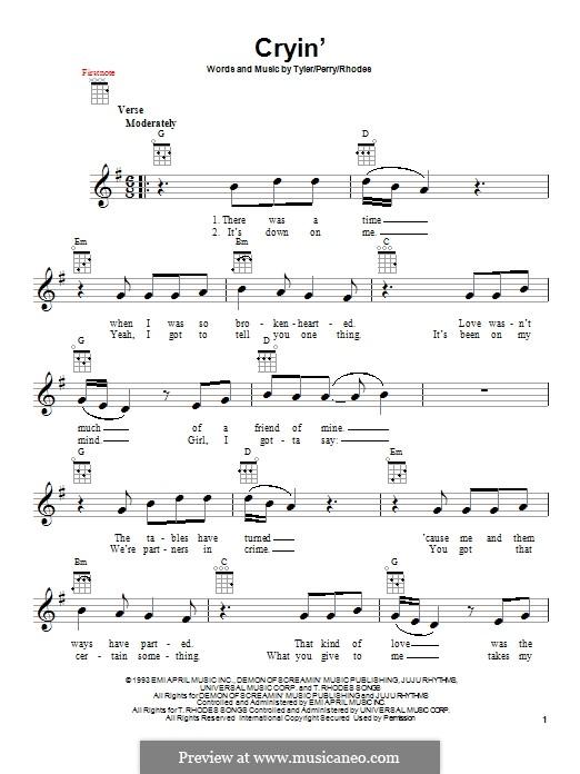 Cryin' (Aerosmith): Для укулеле by Joe Perry, Steven Tyler, Taylor Rhodes