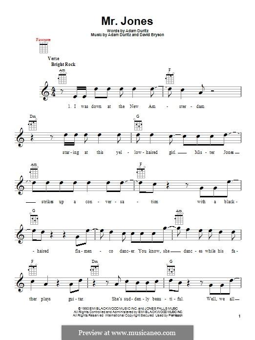 Mr. Jones (Counting Crows): Для укулеле by Adam F. Duritz, David Bryson