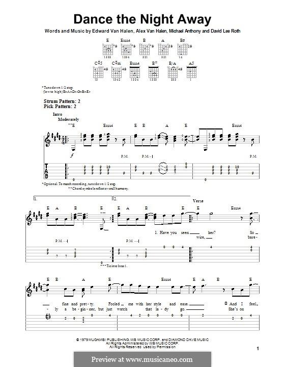 Dance the Night Away (Van Halen): Для гитары с табулатурой by Alex Van Halen, Edward Van Halen, Michael Anthony
