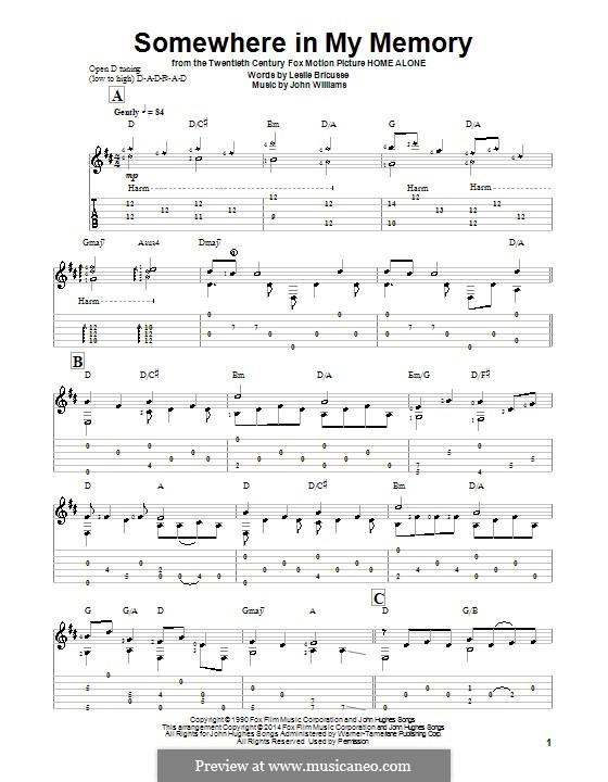 Somewhere in My Memory: Для гитары с табулатурой by John Williams