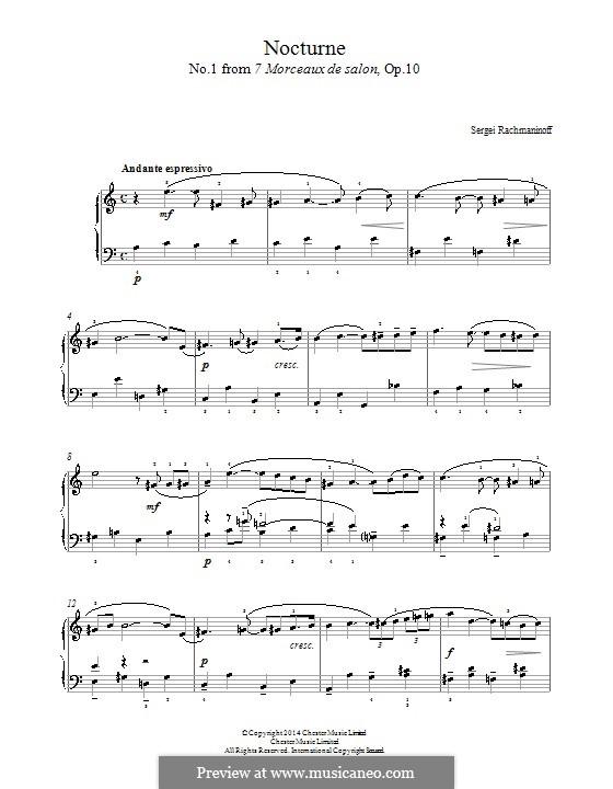 Семь салонных пьес, Op.10: No.1 Nocturne by Сергей Рахманинов