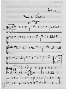 Пьеса и вариации для органа: Пьеса и вариации для органа by Эрнст Леви