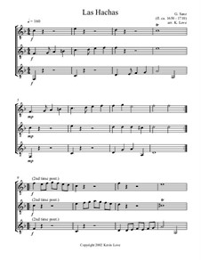 Las Hachas: For trio guitars - score and parts by Гаспар Санц