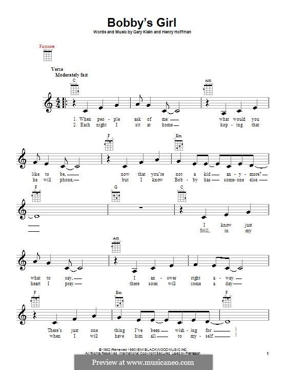 Bobby's Girl (Marcie Blane): Для укулеле by Gary Klein, Henry Hoffman
