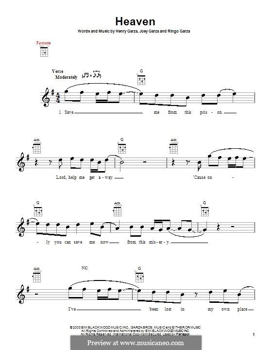 Heaven (Los Lonely Boys): Для укулеле by Henry Garza, Joey Garza, Ringo Garza