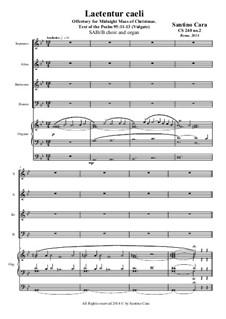 Laetentur Caeli - Cristmas - SABrB choir and organ, CS240 No.2: Laetentur Caeli - Cristmas - SABrB choir and organ by Santino Cara
