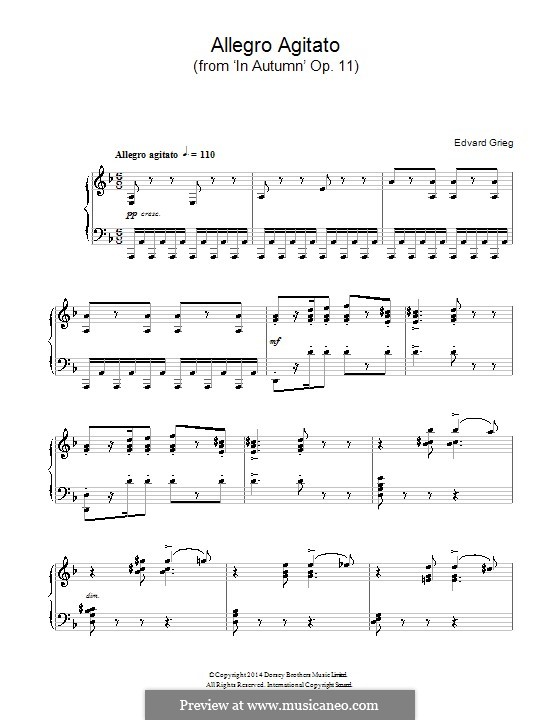 Осенью, Op.11: Allegro Agitato, for piano by Эдвард Григ