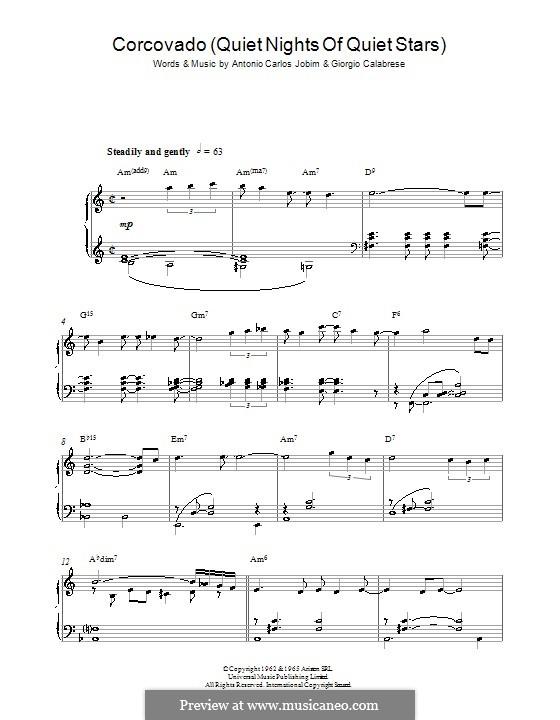 Corcovado (Quiet Nights of Quiet Stars): Для фортепиано by Antonio Carlos Jobim