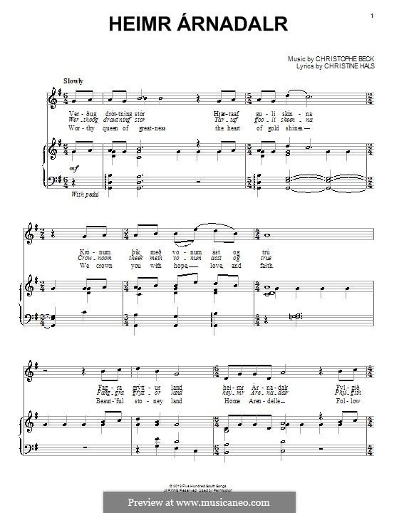 Heimr Arnadalr: Для голоса и фортепиано (или гитары) by Christophe Beck