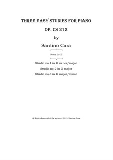 Three easy studies for piano, CS212: Three easy studies for piano by Santino Cara