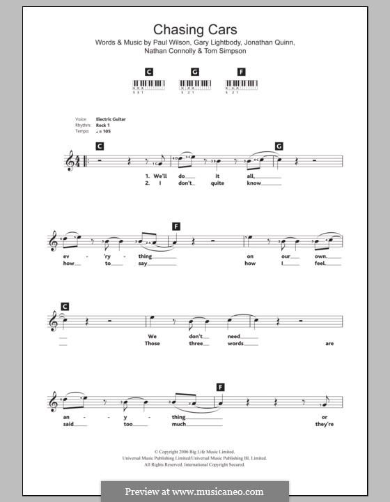 Chasing Cars (Snow Patrol): Для клавишного инструмента by Gary Lightbody, Jonathan Quinn, Nathan Connolly, Paul Wilson, Tom Simpson