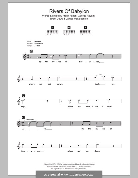 Rivers of Babylon: Для клавишного инструмента by Brent Dowe, Frank Farian, George Reyam, James A. McNaughton