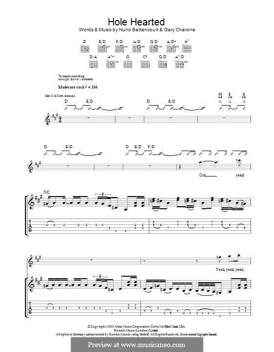 Hole Hearted (Extreme): Для гитары с табулатурой by Gary Cherone, Nuno Bettencourt