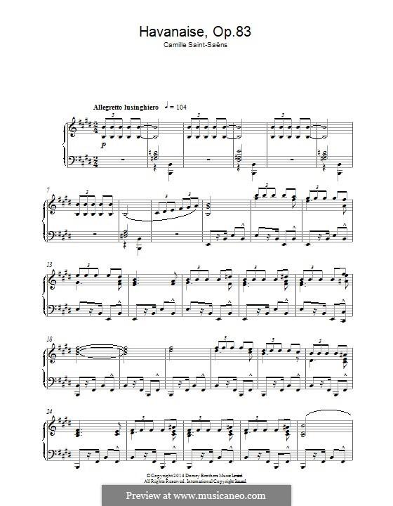 Хаванез, Op.83: Для фортепиано by Камиль Сен-Санс