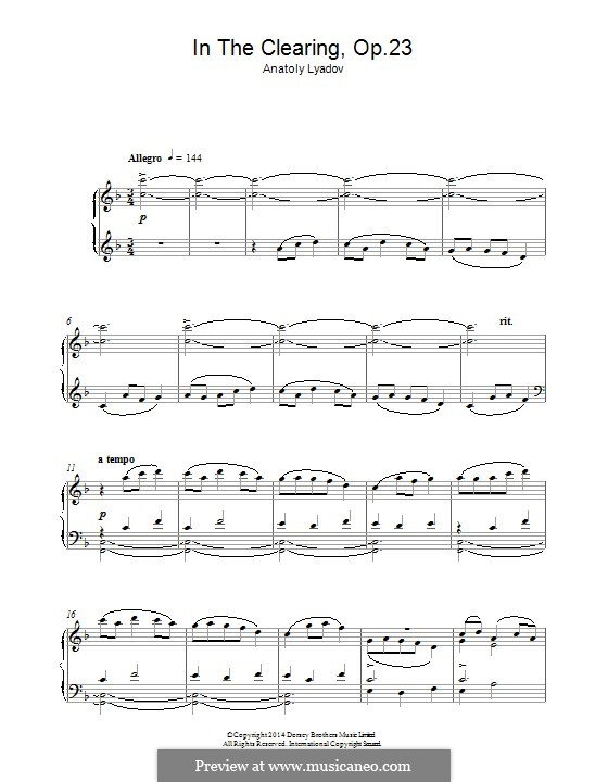 На лужайке (Набросок для фортепиано), Op.23: Для одного исполнителя by Анатолий Лядов