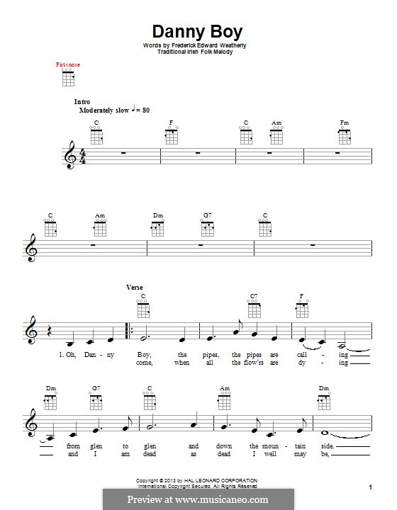 Danny Boy (Londonderry Air) Printable Scores: Для укулеле by folklore