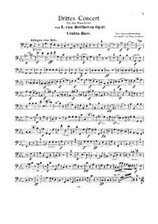Концерт для фортепиано с оркестром No.3, Op.37: Версия для двух фортепиано и струнного квинтета, партия контрабаса by Людвиг ван Бетховен