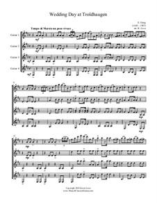 Лирические пьесы, Op.65: No.6 Wedding Day at Troldhaugen, for guitar quartet - score and parts by Эдвард Григ