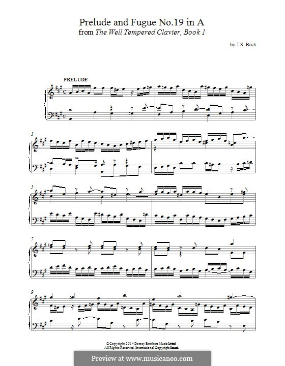 Прелюдия и фуга No.19 ля мажор, BWV 864: Для фортепиано by Иоганн Себастьян Бах