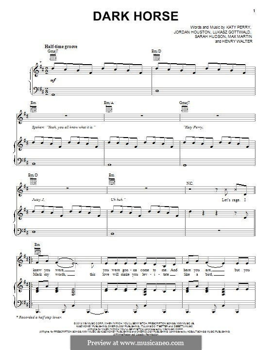 Dark Horse: Для голоса и фортепиано (или гитары) by Katy Perry, Lukas Gottwald, Max Martin, Henry Russell Walter
