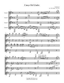 Canço Del Lladre (Quartet): Score and parts by folklore