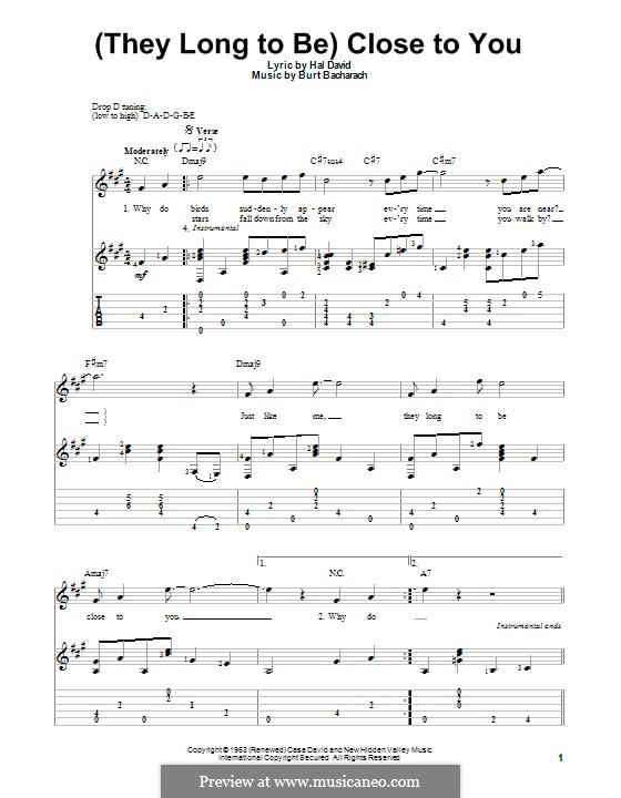 Close to You (They Long to be): Для гитары с табулатурой by Burt Bacharach