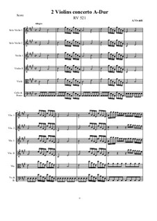 Concerto for Two Violins in A Major, RV 521: Score and all parts by Антонио Вивальди