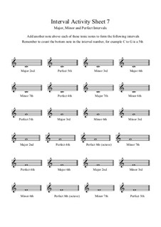 Interval Activity: Sheet 7 (Writing Intervals) by Yvonne Johnson