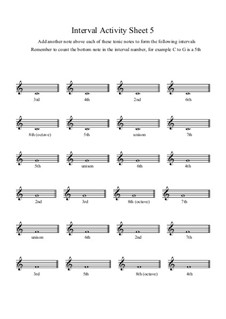 Interval Activity: Sheet 5 (Writing Intervals) by Yvonne Johnson