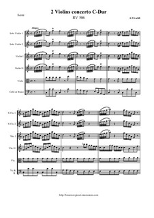 Concerto for Two Violins in C Major, RV 506: Score and all parts by Антонио Вивальди