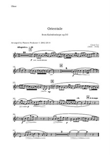 No.9 Orientale: For oboe, violin, viola and cello - oboe part by Цезарь Кюи