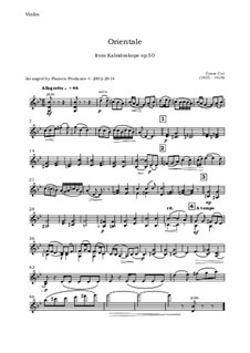No.9 Orientale: For oboe, violin, viola and cello - violin part by Цезарь Кюи