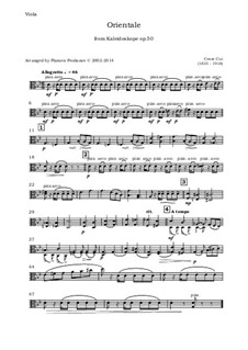 No.9 Orientale: For oboe, violin, viola and cello - viola part by Цезарь Кюи