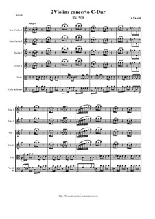 Concerto for Two Violins and String Orchestra in C Major, RV 508: Score and all parts by Антонио Вивальди