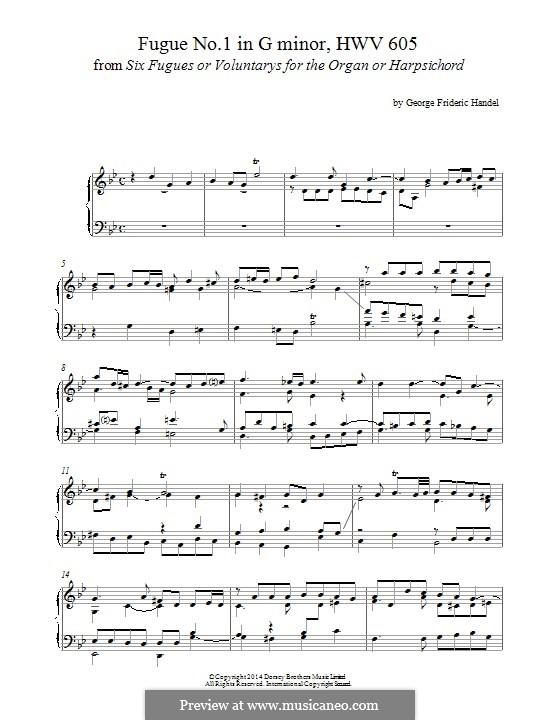 Шесть больших фуг: Фуга No.1 соль минор, для фортепиано by Георг Фридрих Гендель