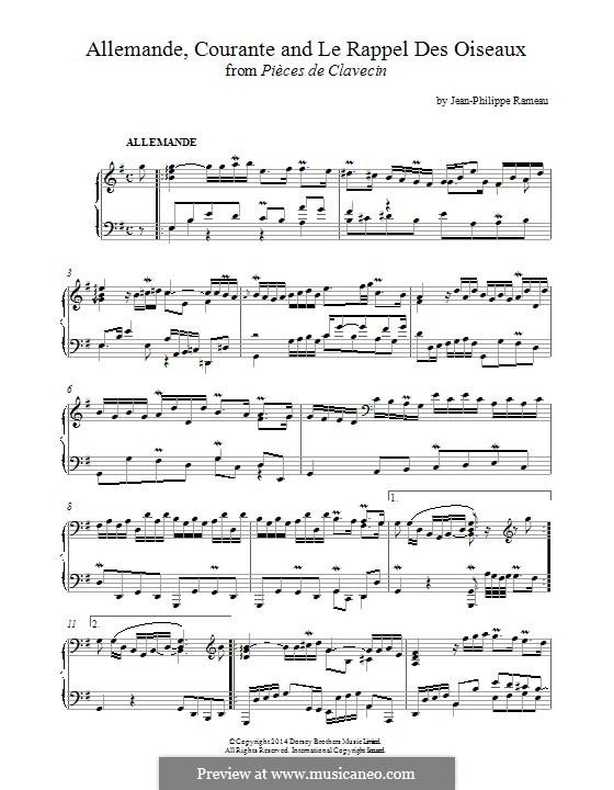 Пьесы для клавесина: Аллеманда, Куранта и 'Le Rappel des Oiseaux' by Жан-Филипп Рамо