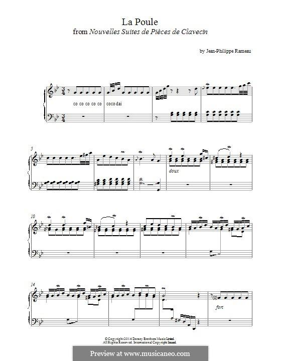 Nouvelles suites de pièces de clavecin: La Poule. Version for piano by Жан-Филипп Рамо