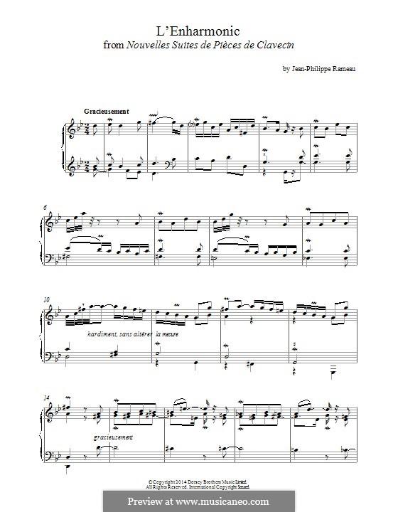 Nouvelles suites de pièces de clavecin: L'enharmonic. Version for piano by Жан-Филипп Рамо