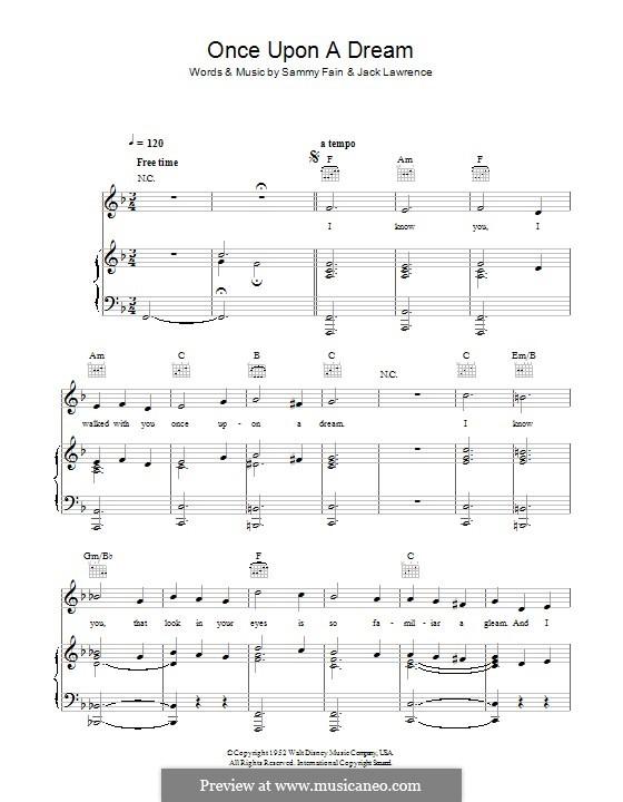 Once upon a Dream: Для голоса и фортепиано (или гитары) by Jack Lawrence, Sammy Fain