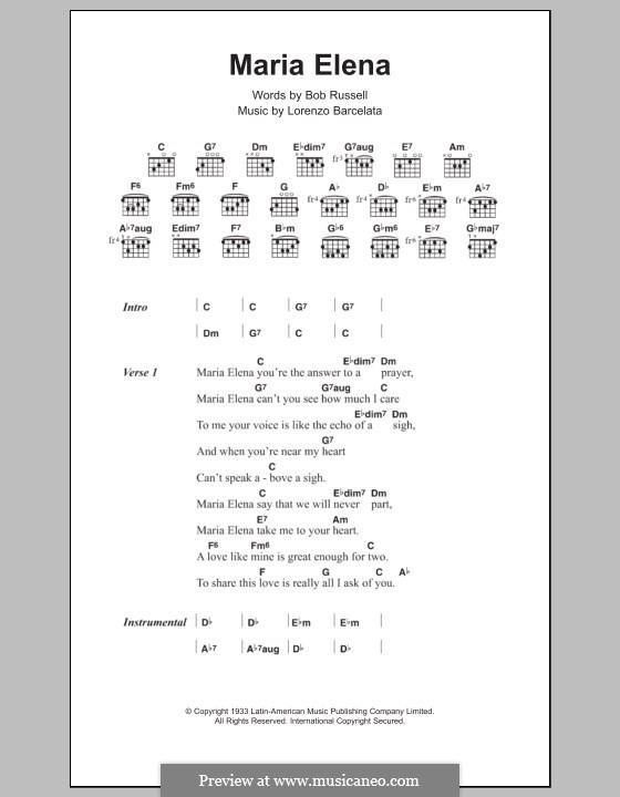 Maria Elena: Текст и аккорды by Lorenzo Barcelata