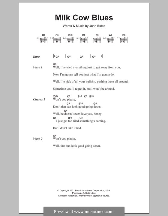 Milk Cow Blues: Текст и аккорды by John Estes