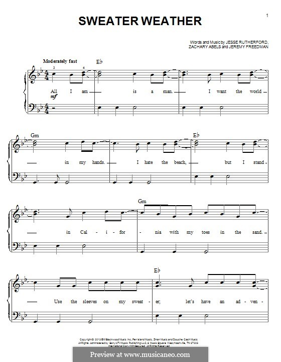 Sweater Weather (The Neighbourhood): Для фортепиано by Jesse Rutherford, Zachary Abels, Jeremy Freedman