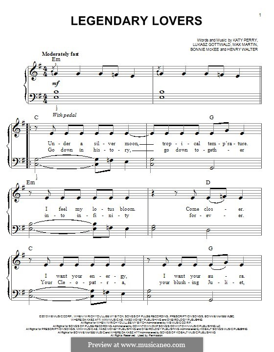 Legendary Lovers: Для фортепиано by Bonnie McKee, Katy Perry, Lukas Gottwald, Max Martin, Henry Russell Walter