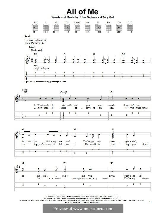 All of Me: Для гитары с табулатурой by John Stephens, Tobias Gad