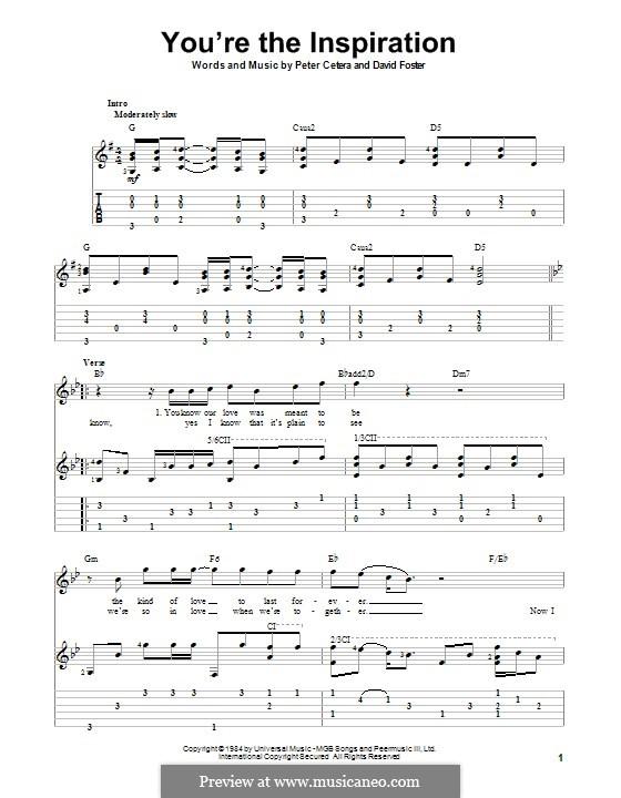 You're the Inspiration (Chicago): Для гитары с табулатурой by David Foster, Peter Cetera